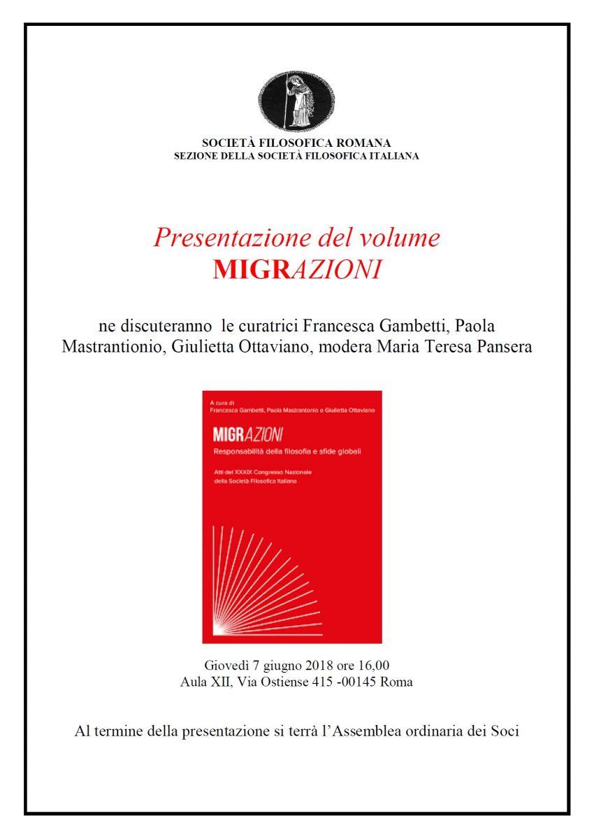 Presentazione del volume MIGRAZIONI