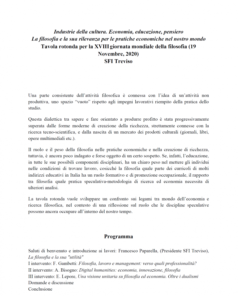 SFI Treviso - Industrie della cultura. Economia, educazione, pensiero. La filosofia e la sua rilevanza per le pratiche economiche nel nostro mondo