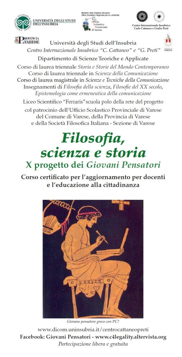 Sezione di Varese, Università degli Studi dell'Insubria - Filosofia, scienza e storia: Il progetto dei Giovani Pensatori, X edizione 2018-2019