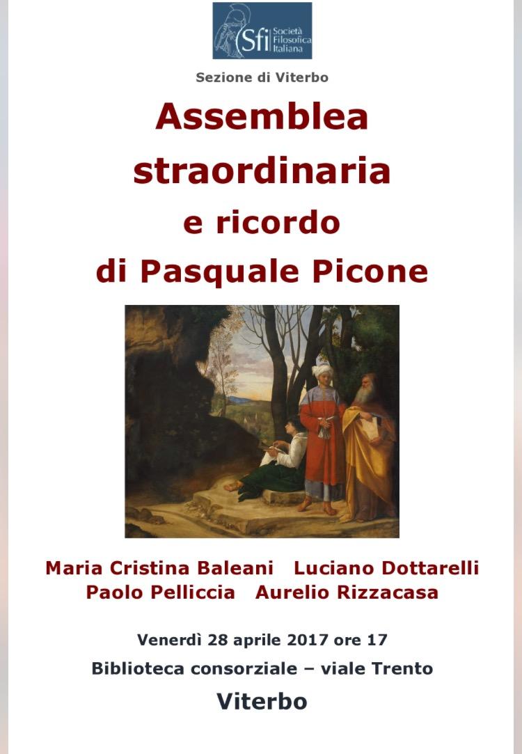 Sezione di Viterbo - Assemblea straordinaria e ricordo di Pasquale Picone