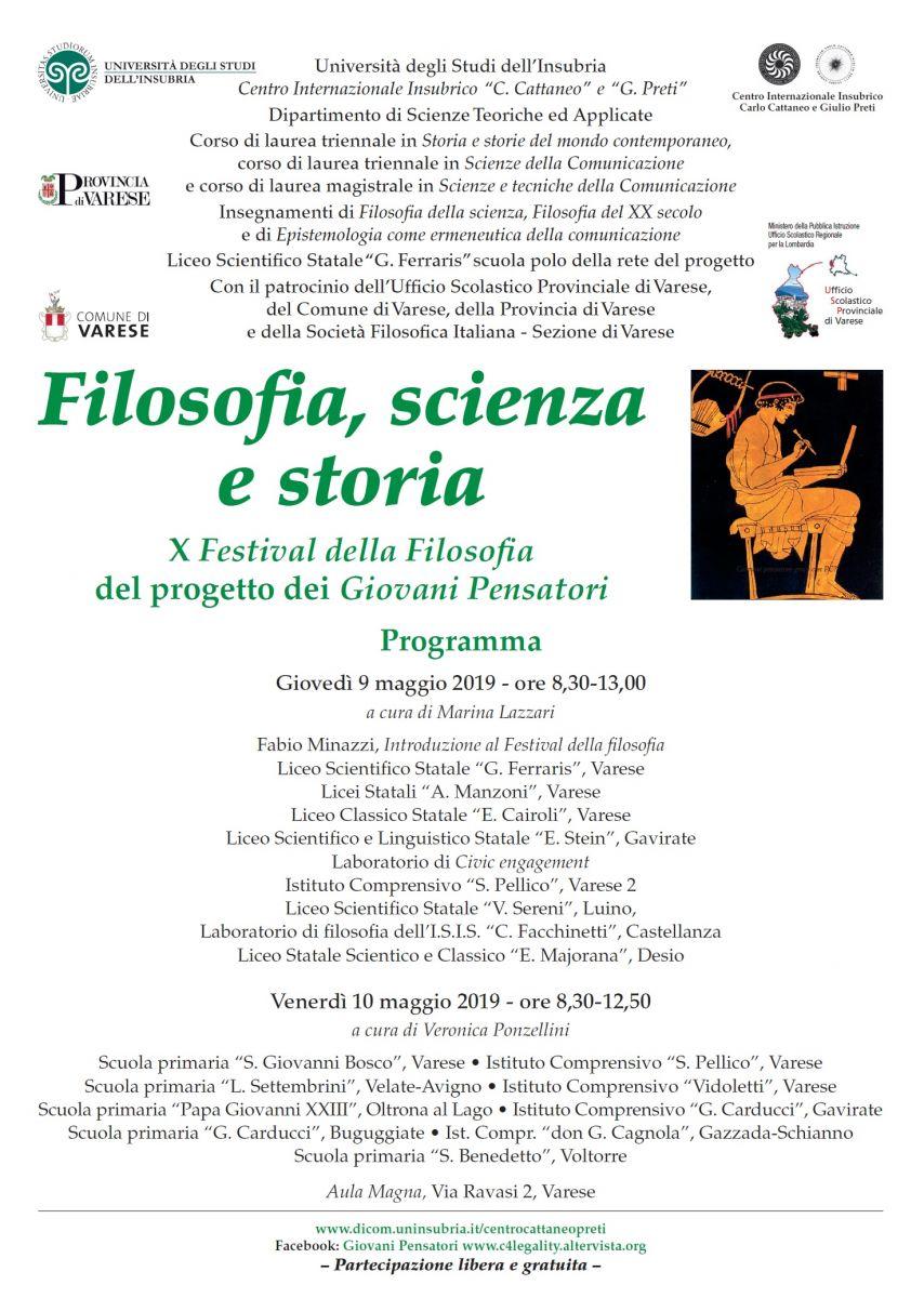 Sezione di Varese: Filosofia, scienza e storia - X Festival della Filosofia del progetto dei Giovani Pensatori