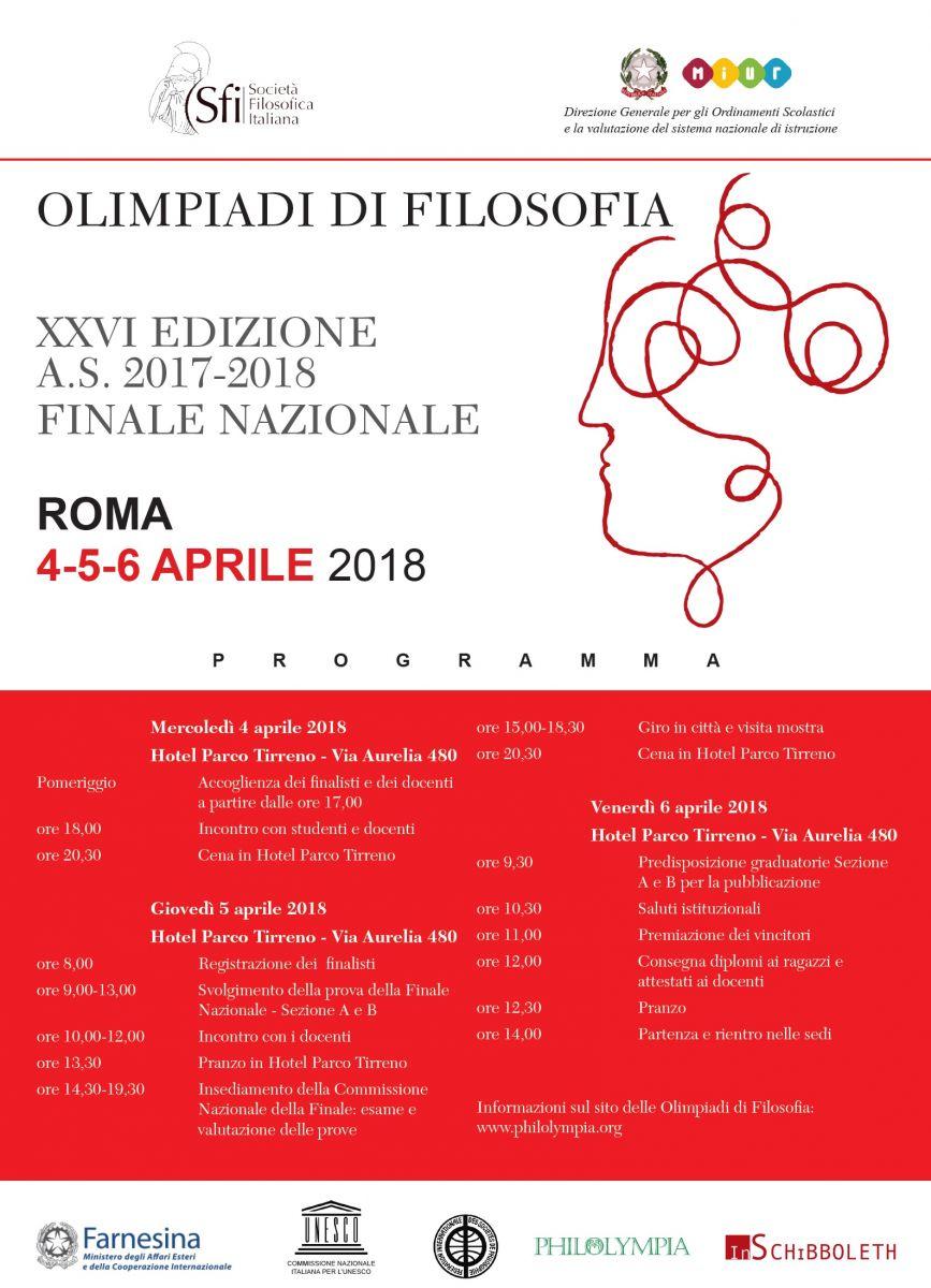 OLIMPIADI DI FILOSOFIA XXVI EDIZIONE - A.S. 2017-2018 - FINALE NAZIONALE: PROGRAMMA