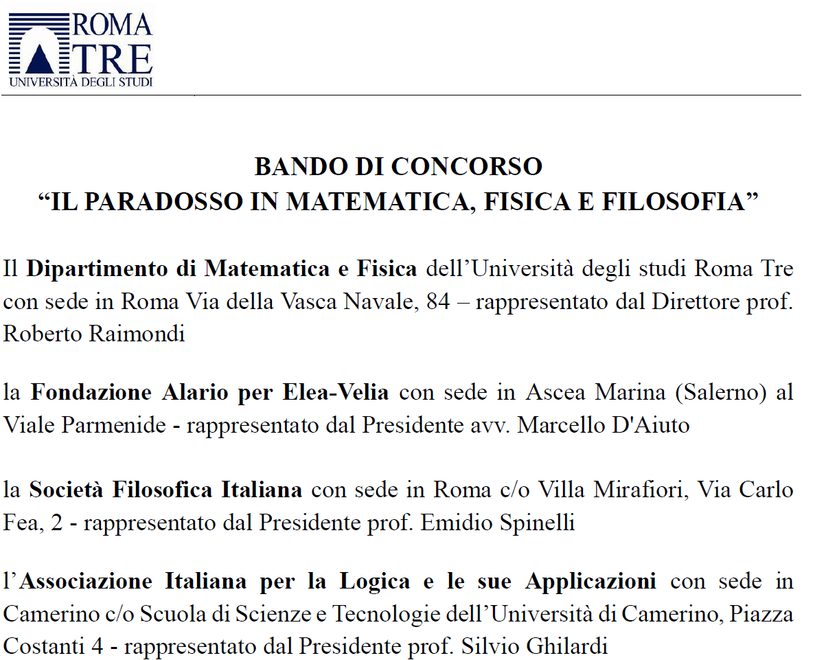 """BANDO DI CONCORSO """"IL PARADOSSO IN MATEMATICA, FISICA E FILOSOFIA"""""""