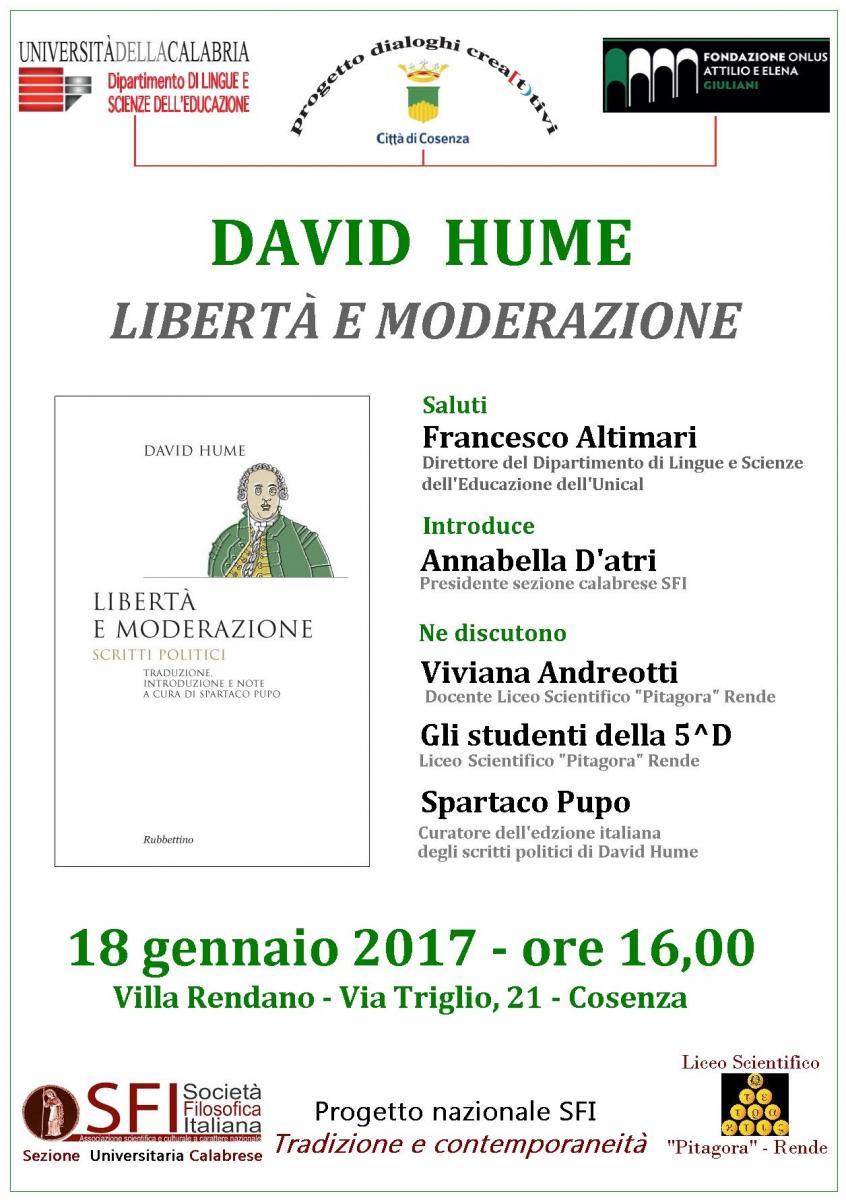 Sezione Universitaria Calabrese - Hume: Libertà e moderazione