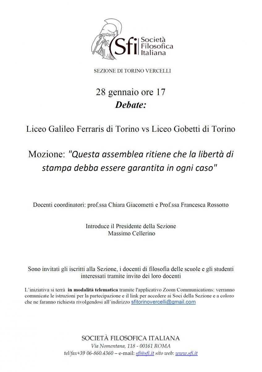 """Sezione Torino-Vercelli - Debate: """"Questa assemblea ritiene che la libertà di stampa debba essere garantita in ogni caso"""""""