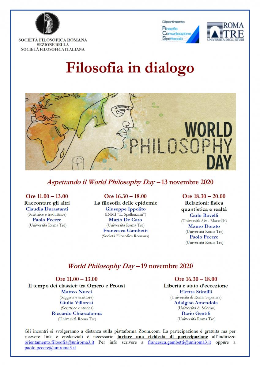 Società Filosofica Romana - Filosofia in dialogo: Giornata Mondiale Filosofia 2020