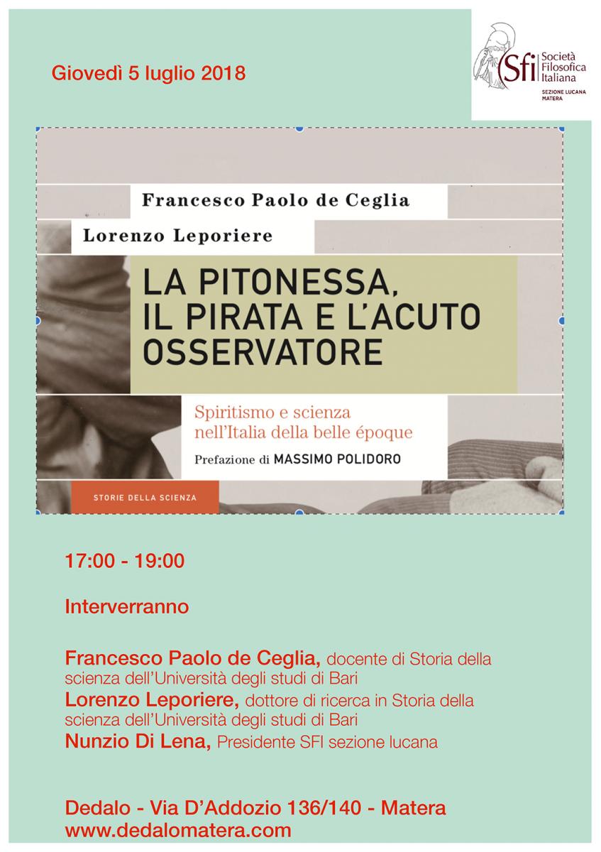 Sezione Lucana di Matera - LA PITONESSA, IL PIRATA E L'ACUTO OSSERVATORE