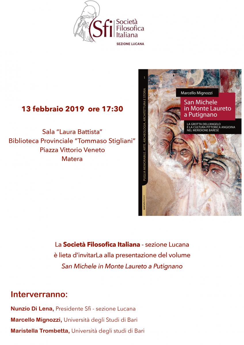 Sezione Lucana di Matera - SAN MICHELE IN MONTE LAURETO A PUTIGNANO