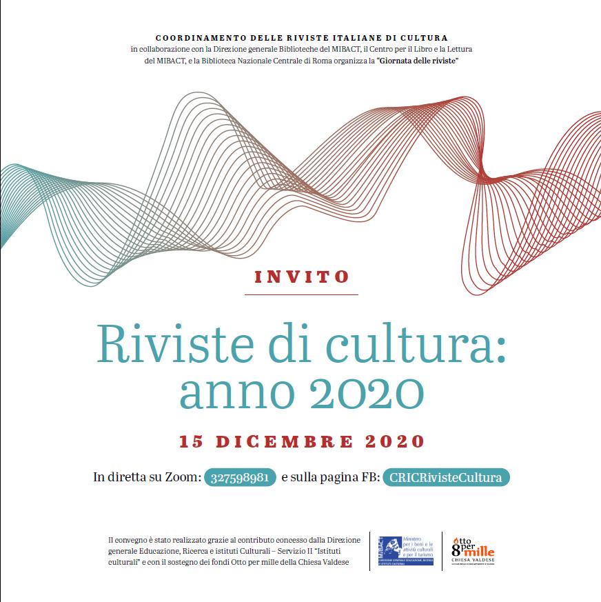 Invito: Riviste di cultura: anno 2020
