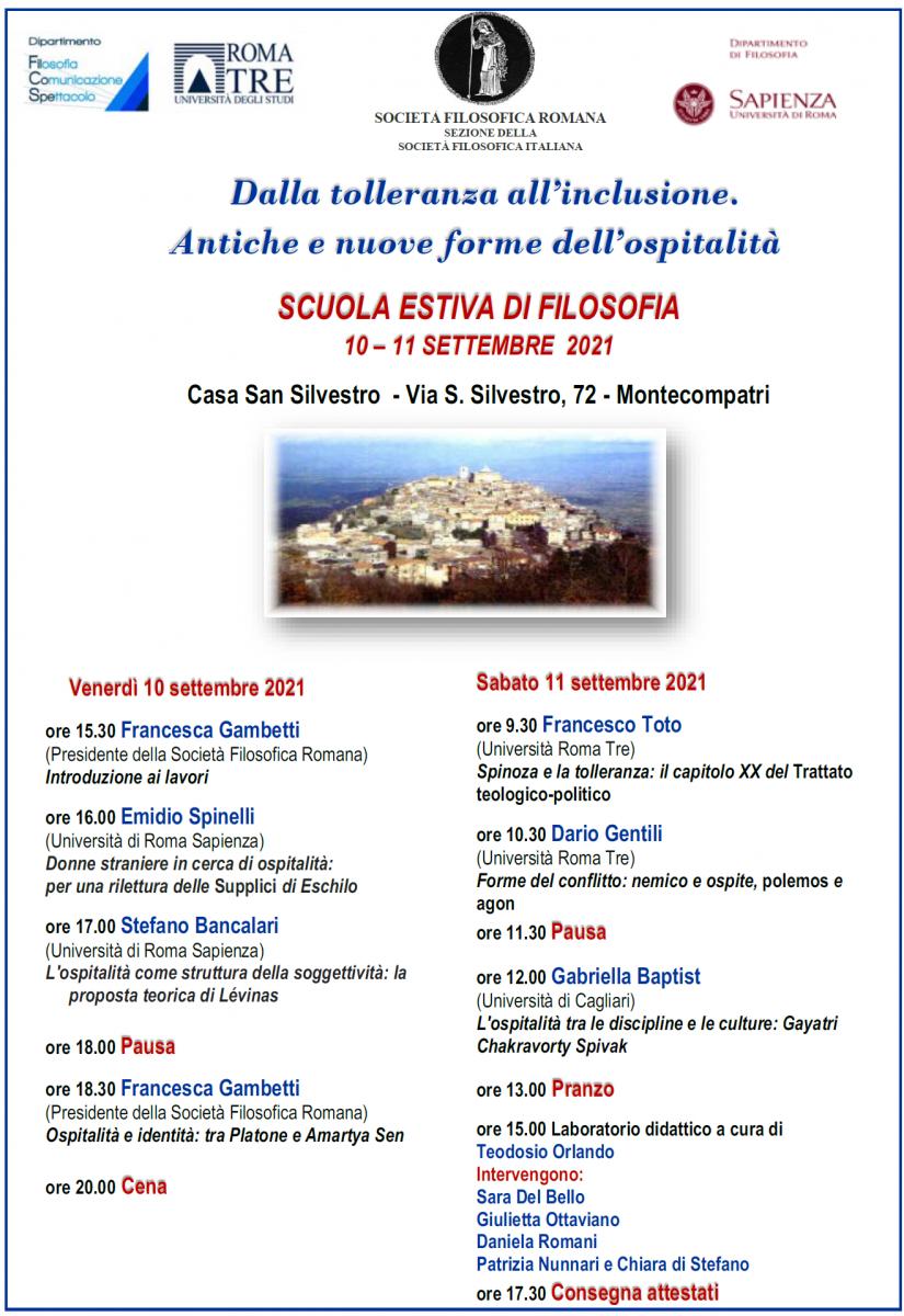 Società Filosofica Romana - SCUOLA ESTIVA DI FILOSOFIA 2021: Dalla tolleranza all'inclusione. Antiche e nuove forme dell'ospitalità