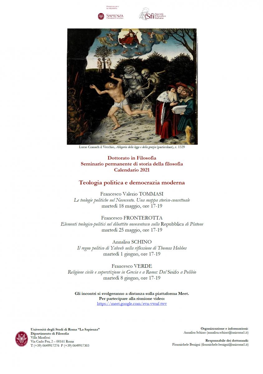 Dottorato in Filosofia (UniRoma1) - Seminario permanente di storia della filosofia: Teologia politica e democrazia moderna